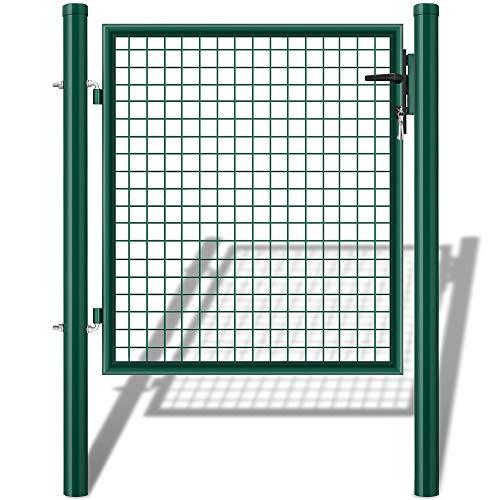 Amagabeli Puerta de Verja Mallada para Jardín Traje de puertas batientes recubiertas de PE galvanizado Patio o terraza de jardín de color verde RAL6005 oscuro 140x100cm