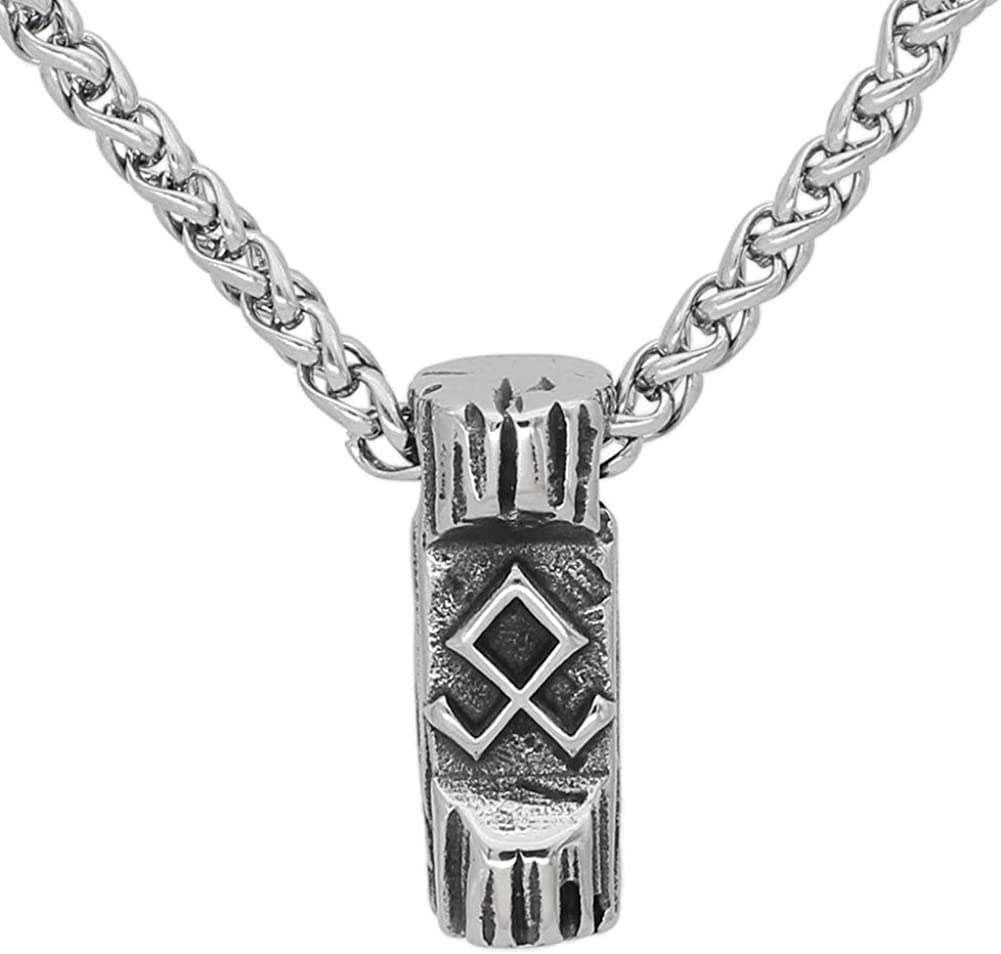 GuoShuang Stainless steel Nordic Viking Amulet odin symbol Rune Necklace with valknut gift bag