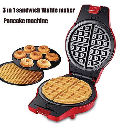 YQ Sandwich Maker, 3-In-1-Waffel, Egg Roll Machine, Donuts Maker Mit Kompaktem Design, Antihaft-Beschichtung, Leicht Zu Reinigen/Double-Sided Heizung / 3 Arten Von Backblech, 800W