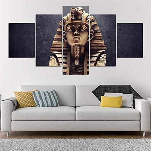 JIONGJIONG Cuadros en Lienzo Paisaje Marino Decoracion de Pared 5 Piezas Modernos Mural Fotos para Salon,Dormitorio,Baño,Comedor Faraón Egipcio