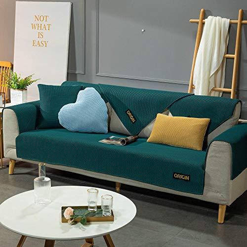 YUTJK Cubierta de sofá de Estera de Verano Transpirable,Toalla Antideslizante de Franela,Cojín de Sofá Universal de Cuatro Estaciones,Cojín de Protección de Sofá,Verde Oscuro_110×180cm