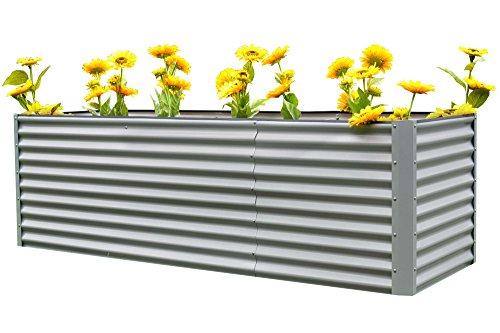 OUTFLEXX Hochbeet-Set aus Zinkalume in Silber, ca. 120+80 cm, Frühbeet mit Erweiterung, großes Blumenbeet & Pflanzentrog