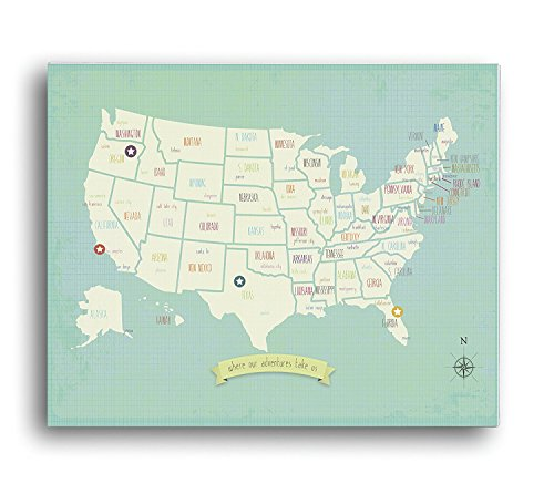 My Travels Personalized USA Map, 24 x 18 Wall Art Print Poster, Bohemian Boho Nordic Style for Children Kids Toddlers Baby Newborn with Stickers for States and Capitals