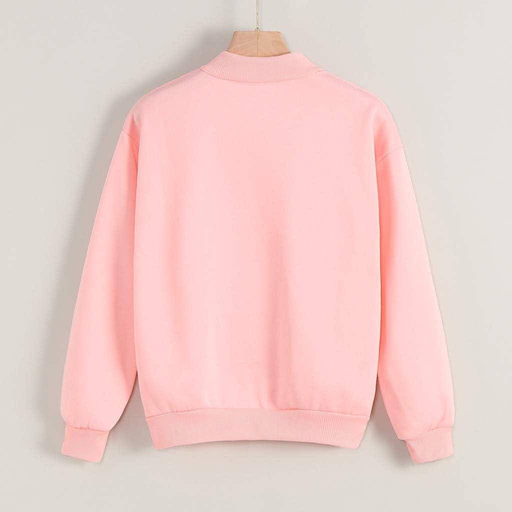 Women's Long Sleeve Solid Color Mock Neck Sweatshirt Tops Women Cat Print Graphic Pullover Casual Teens Gift Tops