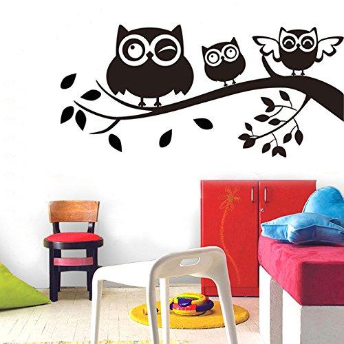 Mddjj Autocollants Muraux Sculptés Commerce Extérieur Mur Autocollants Chambre Décoration Hibou Noir Branches Autocollants Peinture Porche Couloir Enfants