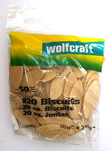 wolfcraft 2923405 Compressed Wafer Shaped Wood Joining Biscuits, #20, 50 Piece Bag
