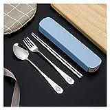 LVTONG Tenedor Cuchara Vajilla portátil Vajilla Conjunto de vajilla de Acero Inoxidable con Caja de Cocina Cuchara de Cucharada Set para niños Cubiertos de Escuela Cuchara Tenedor (Color : Blue B)