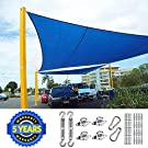 Quictent 24X24FT 185G HDPE Square Sun Shade Sail Canopy 98% UV Block Outdoor Patio Garden with Free Hardware Kit (24'x24', Blue)