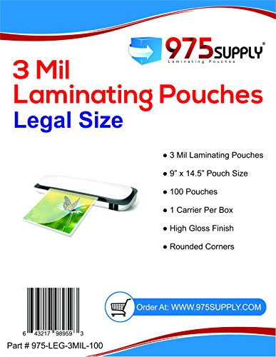 975 Supply 3 Mil Clear Legal Size Thermal Laminating Pouches, 9 X 14.5 inches, 100 Pouches