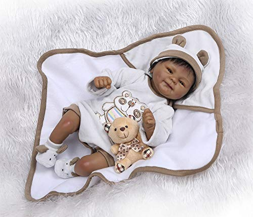 Pinky Reborn 17 Inch 43cm Native Black Indian African Silicone Reborn Baby Boy Doll Real Lifelike Realistic Xmas Gift