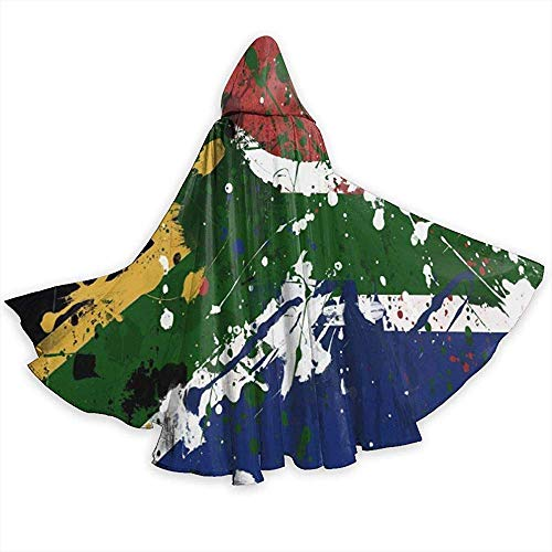 KDU Fashion heksenhoed mantel met capuchon gepersonaliseerde vlag Zuid-Afrikaanse Strega mantel voor communies van familie 40 x 150 cm