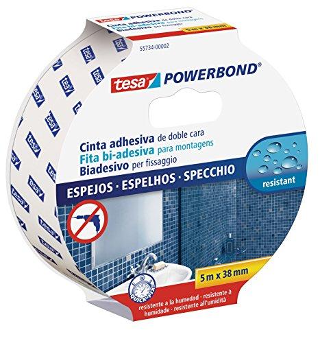 tesa Powerbond MIRROR - Doppelseitiges Montageband zur Fixierung von Spiegeln - Feuchtigkeitsbeständiges Klebeband für Bad und Dusche - 5 m x 38 mm
