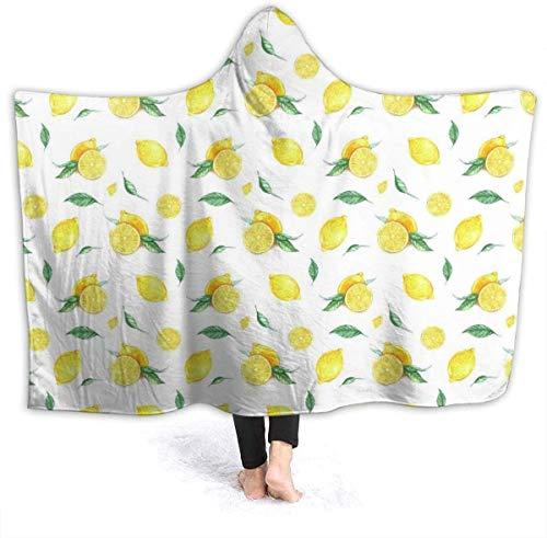 Fresh Lemon - Manta con Capucha para Mujer, súper Suave, 50'x 40', Manta de Franela, Sudadera con Capucha, Bata con Capucha, Capa con Capucha para Ver películas