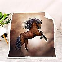 3Dプリント馬柄ソファブランケット、素敵なリビングルームブランケットフランネルブランケット、ベッド用、ラップブランケット、馬好きの友達へのプレゼント-F_150x200cm * 1