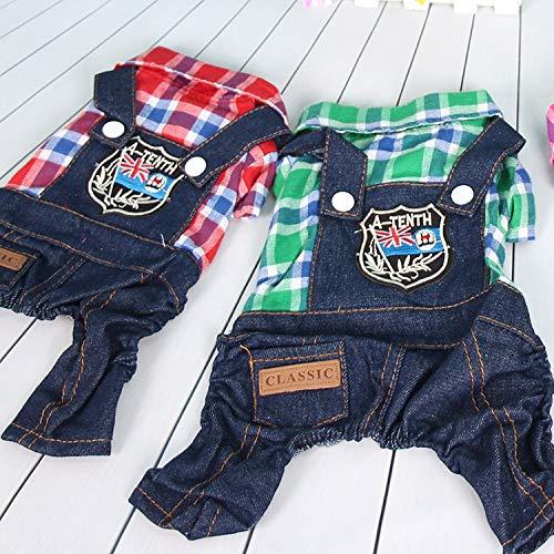 HKHJN Hond kleding vier voeten lente en herfst winter kleding huisdier kleding Teddy hond VIP dan beer puppies zomer, L, Plaid four-legged jeans big Red