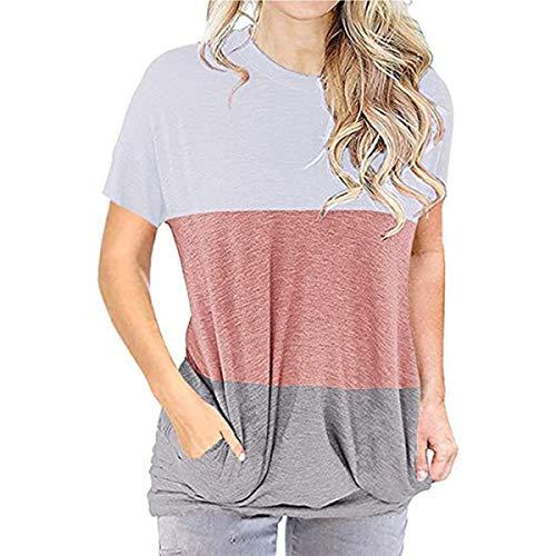 Hbysgj Camisetas de manga corta de bloque de color para mujer, blusa de cuello redondo, túnica casual, ajuste holgado