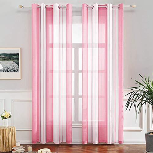 tende soggiorno rosa MIULEE Voile Tenda Finestra con Occhielli a Pannello Tende Trasparenti Righe per Soggiorno e Camera da Letto 2 Pannelli 140 X 260 cm Bianco Rosa