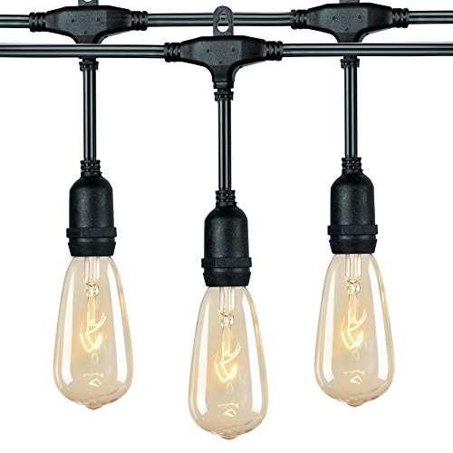 Outdoor Patio String Lights, 36 Feet Weatherproof Vintage Bistro Light with 24 E17 ST40 Clear Edison Bulbs and Hanging Sockets for Garden Party Porches Backyard Cafe Wedding Party Decor, Black