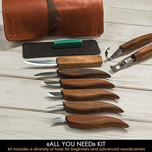 BeaverCraft Deluxe Wood Carving Kit S18X - Wood Carving Knives Set - Spoon Carving Tools Set - Whittling Knives Kit - Chip Carving Knives Wood Carving Tools Kit (Large Whittling Kit S18X)