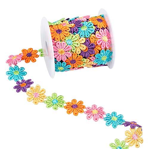 nbeads 7.5 Yards Flower Lace Edging Trim Ribbon, 1 Rolle 26mm Breites Polyester Blumenband Applikationen Nähen Stickerei Handwerk Für Hochzeitskleid Jeans Haarband Kleidung Dekoration