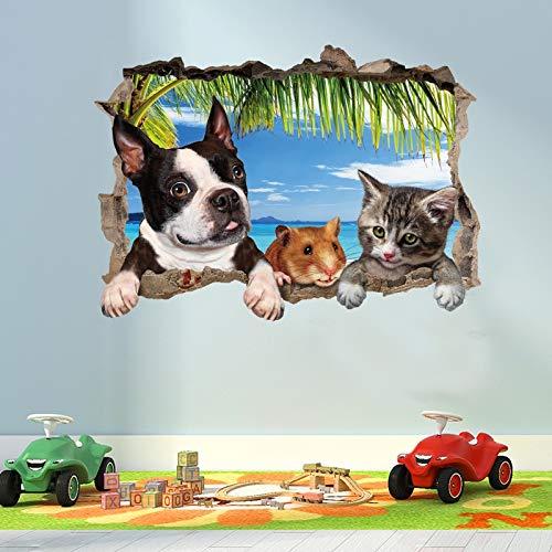 YUIOP 3D gato perro Animal paisaje pegatinas de pared para habitaciones de niños decoración de la sala mural decoración del hogar pegatinas calcomanías papel tapiz