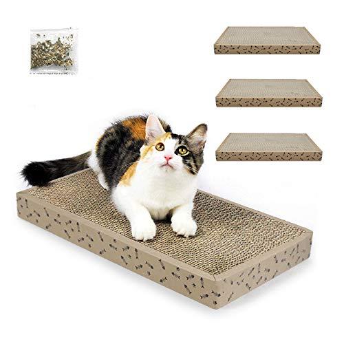 Arotelicht Kratzbrett für Katzen kratzmatte kratzpads Kratzpappe mit Katzenminze Kratzmöbel Katzenspielzeug Katzenliege Schlafplatz Restposten Katzen, 35cm*22.5cm*3.5cm, 3 Stücke