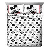 Disney Mickey Mouse Jersey Full Sheet Set - 4 Piece Set Super Soft Kid's Bedding Features Mickey - Fade Resistant Polyester Microfiber Sheets (Official Product)