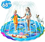 "iBaseToy Splash Pad, Upgraded 68"" Sprinkler for Kids and Toddlers, Kiddie Baby Swimming"