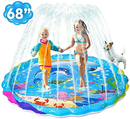 iBaseToy Splash Pad, Upgraded 68' Sprinkler for Kids and Toddlers, Kiddie Baby Swimming Wading Pool, Outdoor Sprinkler Water Mat Toys, Backyard Fountain Splash Play Mat for Children Boys Girls