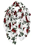 GERINLY Lightweight Summer Blankets Scarf Rose Printed Shawls and Wraps for Women (White)