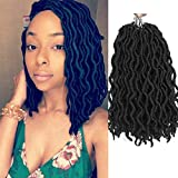 Wavy Gypsy Locs Crochet Hair 12 Inch 8 Packs/Lot Pre-Looped Ombre Goddess Wavy Faux Locs Synthetic Braiding Hair Short Faux Locs Crochet Braids Dreadlocs Hair Extensions (12inch,Black 1B)
