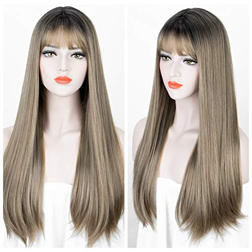 Long Straight Wig with Bangs Synthetic Ombre Wigs for Women Glueless Ombre Brown Wig with Dark Roots for Women Cosplay Heat Resistant 18 Inch