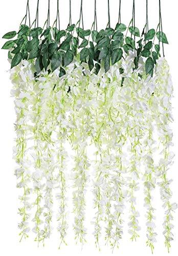 Planta artificial, lote de 12 piezas de 3.6 pies, flores artificiales de seda de glicina, para decoración de boda, hogar, jardín, fiesta, decoración (blanca), decoración de Navidad