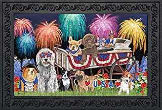 """Briarwood Lane Patriotic Pups Fourth of July Doormat Fireworks Dogs Indoor Outdoor 18"""" x 30"""""""
