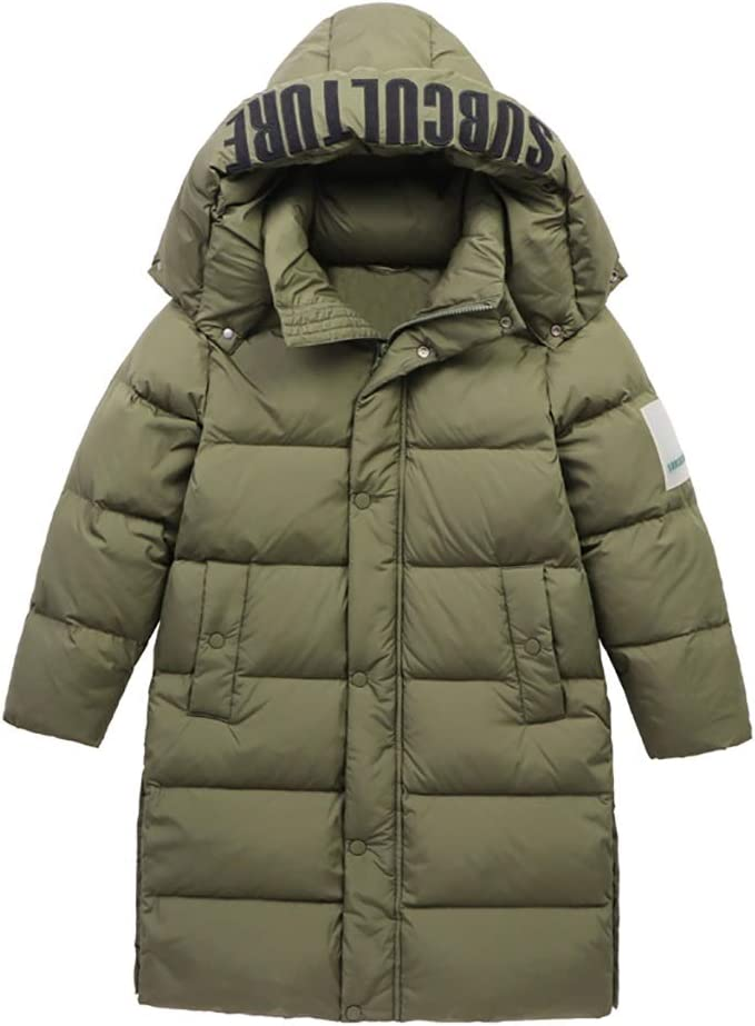 Warm Clothes Boys' Outerwear Jackets Coats Parkas Long Length Puffer Jackes Zip Heavyweight Snowboarding Coats Universal (Color : Green|,| Size : Large)