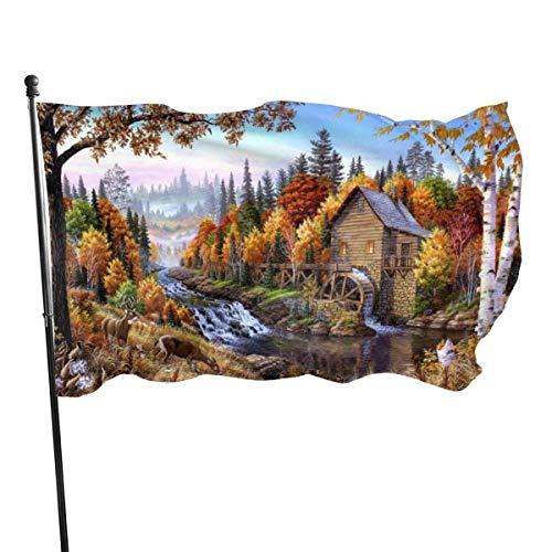 Riverside Forest Chalet Pintura al óleo Bandera 3x5 Ft Bandera decorativa al aire libre Bandera estándar colgante exterior para patio Jardín Césped Vacaciones