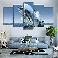 キャンバスペインティングぶら下がっている写真 プリントウォールアート写真5個海面動物ジャンピングホワイトシャークのためにリビングルームの絵画ポスター (Color : No Frame, Size (Inch) : 20x35 20x45 20x55cm)