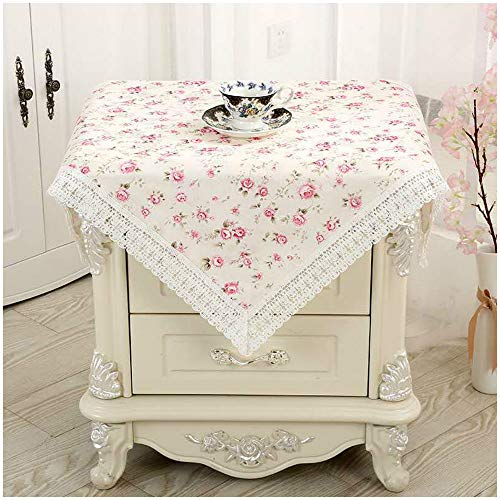 Bettop Tablecloth, Bedside Tablecloth, Bedside Tablecover, Bedside Table Dustcover, Bedside Tabletop Home Decoration,Table Covering Doilies for Furniture,Bedside Table Placemat (Pastoral Pink)