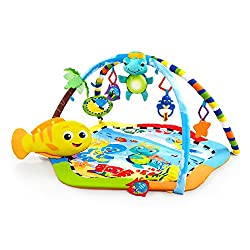 Plush electronic neptune toy: attaches to play gym, carriers and most cribs Lights and 8 classical melodies are baby-motion activated or play continuously for 20+ minutes Fish-shaped prop pillow for tummy time 3d palm tree with crinkle on toy bar