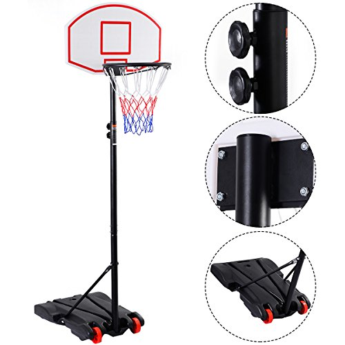 GYMAX Portable Basketball Hoop, Adjustable Basketball Hoop System Basketball Stand with Wheels for Kids Adult Playing Training