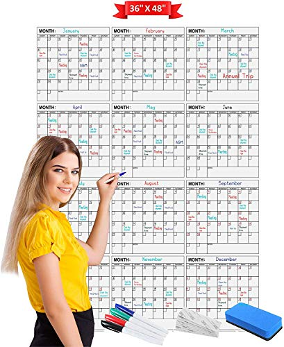 """Jumbo Dry Erase Yearly Calendar 36"""" x 48"""" 12 Month Reusable Wall Planner Includes 4 Markers 1 Eraser and Mounting Tape.… (Vertical)"""
