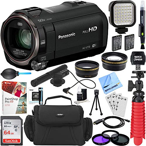 Panasonic HC-V770K HD Camcorder with Mini Zoom Microphone + 64GB SDXC Memory Card + Gadget Bag + Corel PaintShop Pro X9 + Microfiber Cloth + Memory Card Wallet + Card Reader + Tripod & More