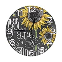 あなたは私のサンシャインひまわり 壁掛け時計 おしゃれ デジタル ミュート 円形 掛け時計 置き時計 目覚まし時計 インテリア 装飾