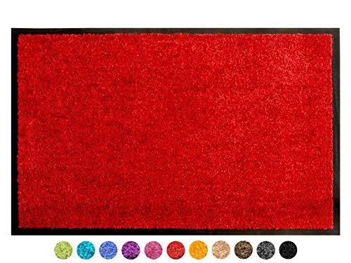 Primaflor - Ideen in Textil Schmutzfangmatte CLEAN – Rot 90x150 cm, Waschbare, rutschfeste, Pflegeleichte Fußmatte, Eingangsmatte, Küchenläufer Sauberlauf-Matte, Türvorleger für Innen & Außen
