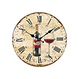 World-Accents Wine Clock with Red Wine Bottle and Glass, 11