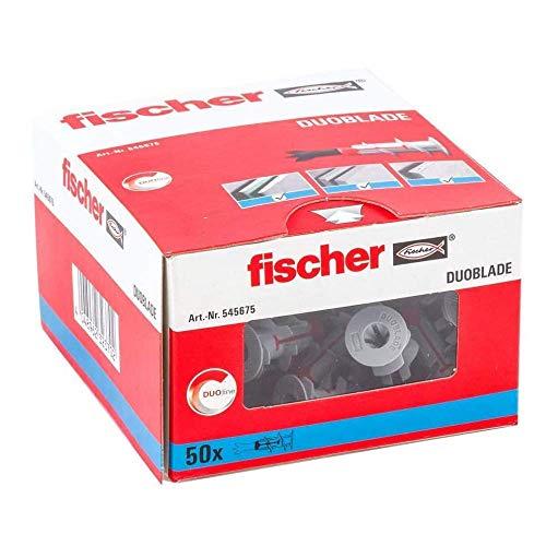 fischer 545675 Tacos de yeso autocortante para cargas ligeras (50 unidades), Rojo