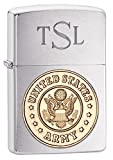 Engraved with Roman Monogram font (First, Last, Middle name initials) Brushed Chrome Finish with Army Emblem Classic Windproof Zippo Proudly Made in the U.S.A. Dimensions: 2.24 in x 1.52 in x 0.52 in; Weight: 1.94 oz