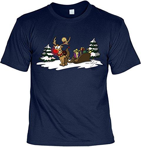 Weihnachten T-Shirt - Motivshirt: Rudolph The rednosed Reindeer - Laiberl Herren Shirt Herrenshirt Geschenk Sprücheshirt Funshirt Sprüche Gr: XL
