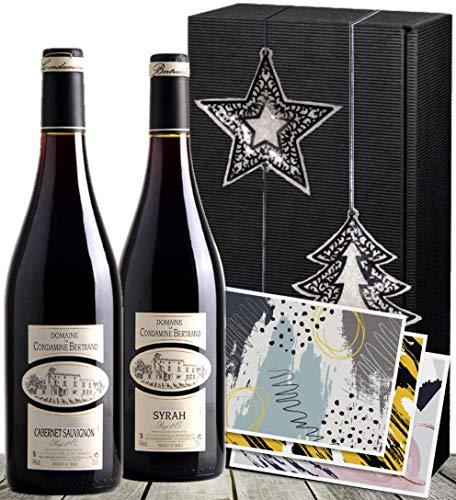 Christmas Weinpräsent Frankreich Bordeaux | Rotwein 2er Weihnachts-Set, Winterzauber (Syrah & Cabernet) | mit Stern & Baum | zu Weihnachten
