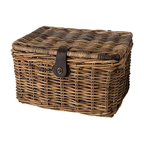 FastRider Fahrradkorb mit Deckel Vorne, 26L Fahrrad Korb für Einkaufstasche, Bike Basket, Ergonomisch, Modisch, Handgemacht, Einfache Montage - Rattan Braun